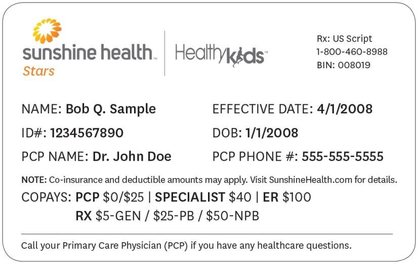 Tarjetas De Identificacion Sunshine Health